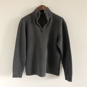 Polo Ralph Lauren 100% Cotton Gray Zip Pullover M